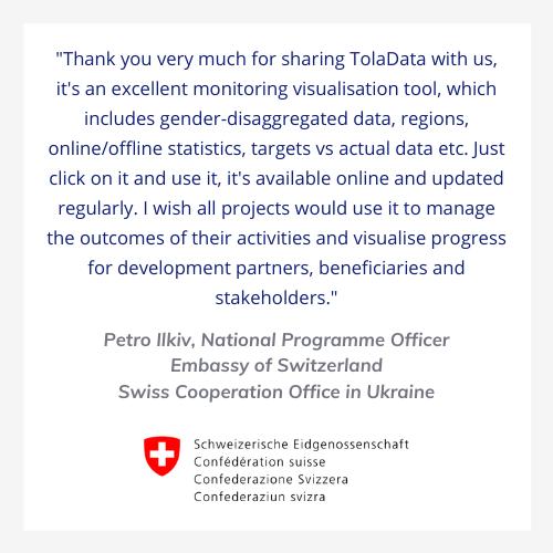 Swiss Embassy testimonial for TolaData